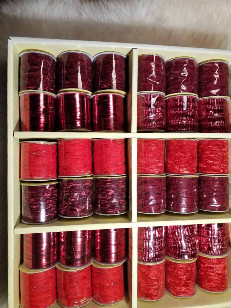 Decorative ribbons, Red, 36 rolls in a box