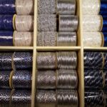 Decorative ribbons, silver blue, 36 rolls in a box