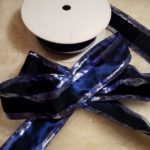 Decorative ribbon with wheel, blue silver, 40mm wide, 50 meter long