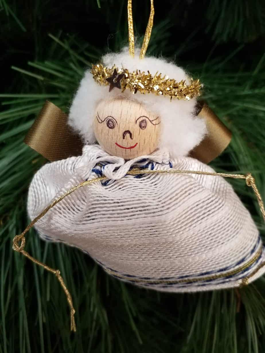 Angel handmade,  9cm, White blue gold, to hang, 22 pieces
