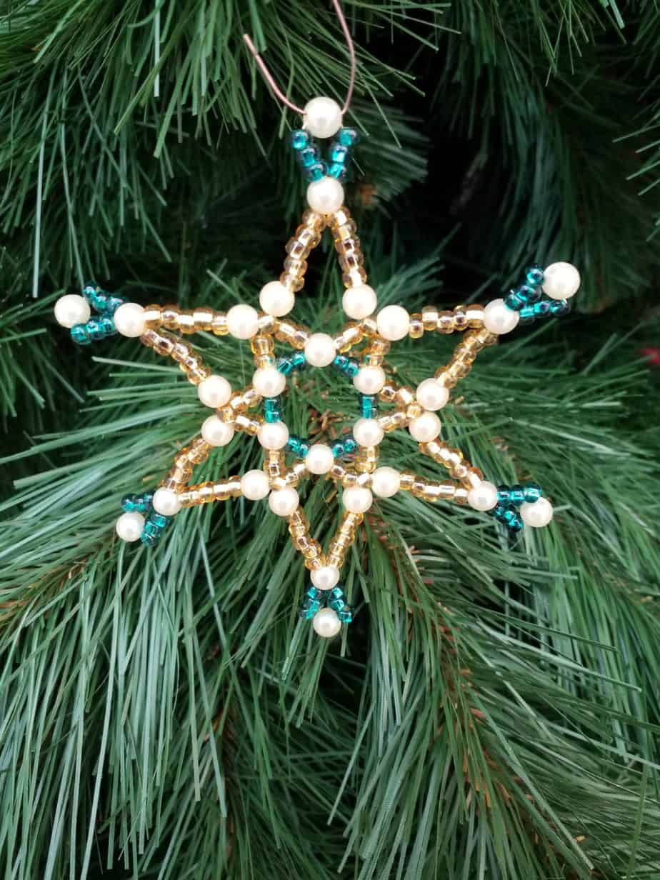 Pearl star, 10cm, turquoise gold cream, 1 piece