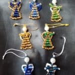 Pearl angel, Made of glass Beads, 4cm, 7 pieces