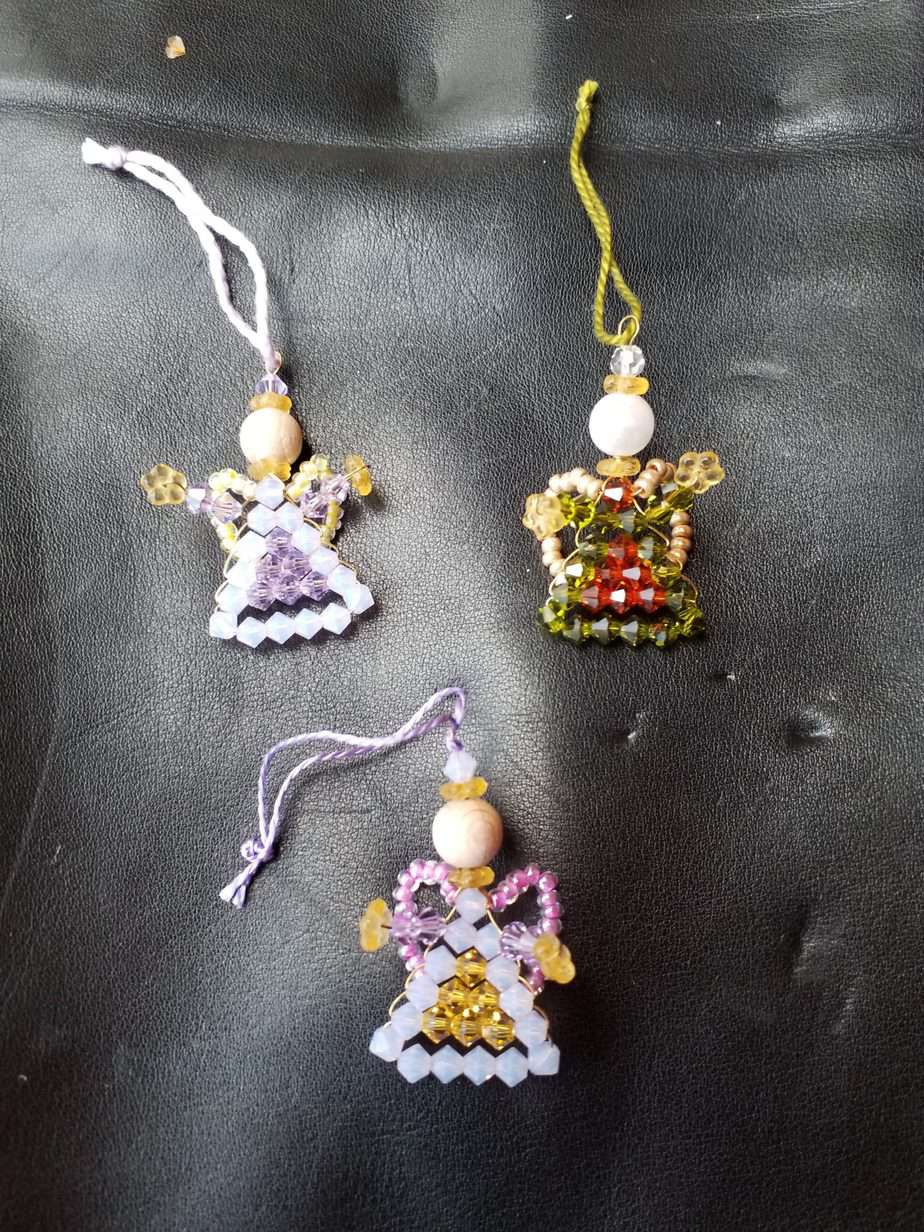 Pearl angel, Made of Swarovski Crystal Beads, 35mm, 3 pieces