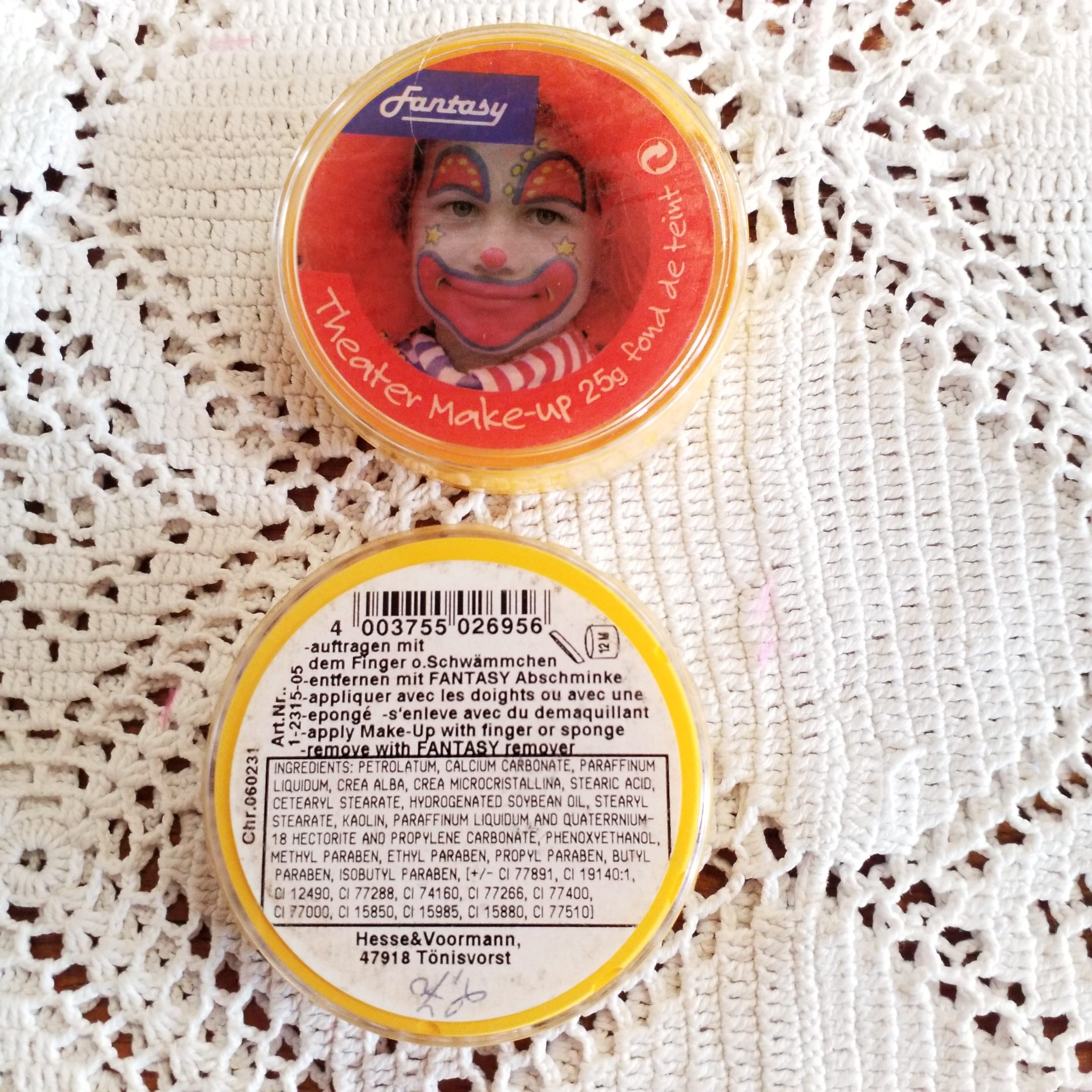 Fasching/Party Theater Make Up, gelb, 25g Dose