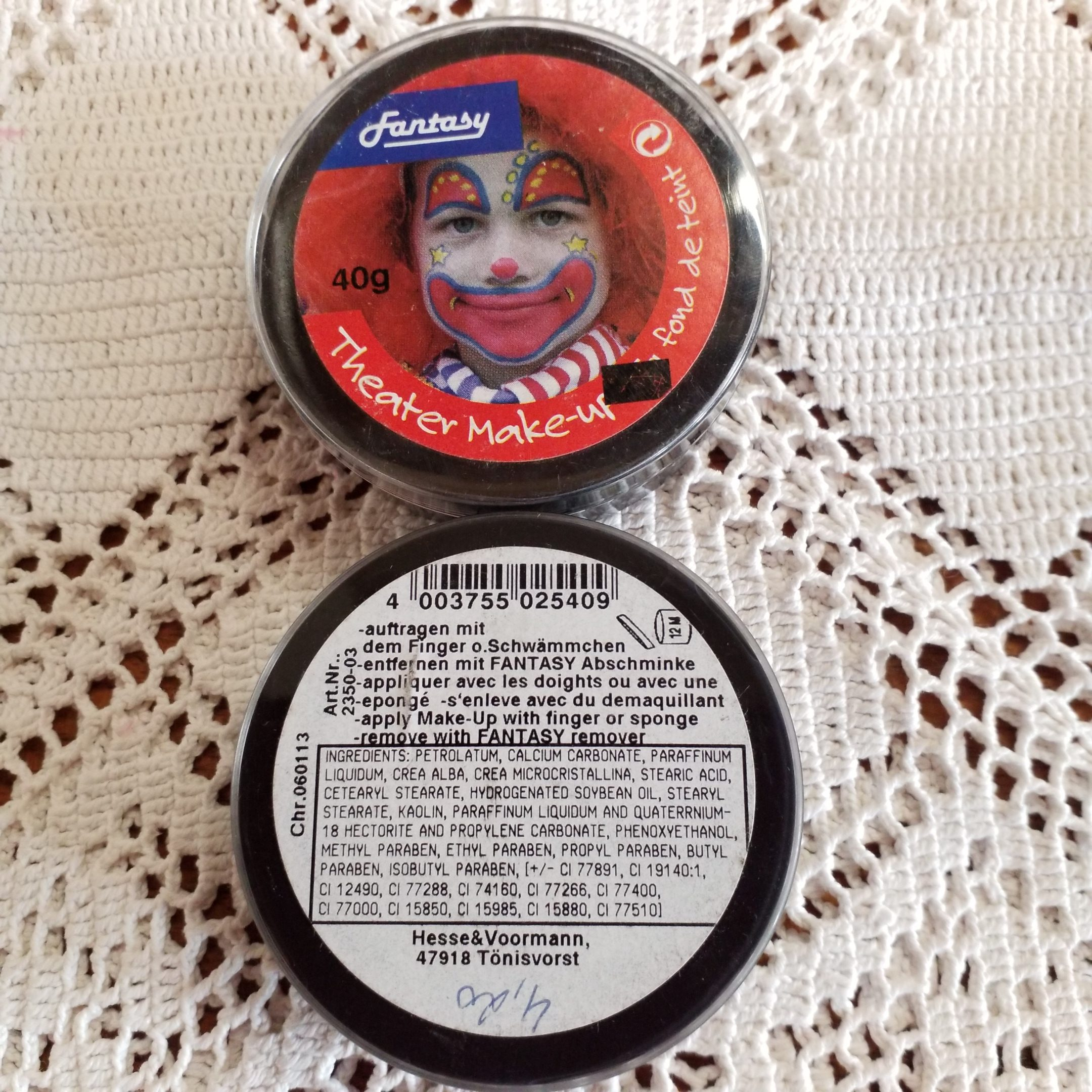 Fasching/Party Theater Make Up, schwarz, 40g Dose