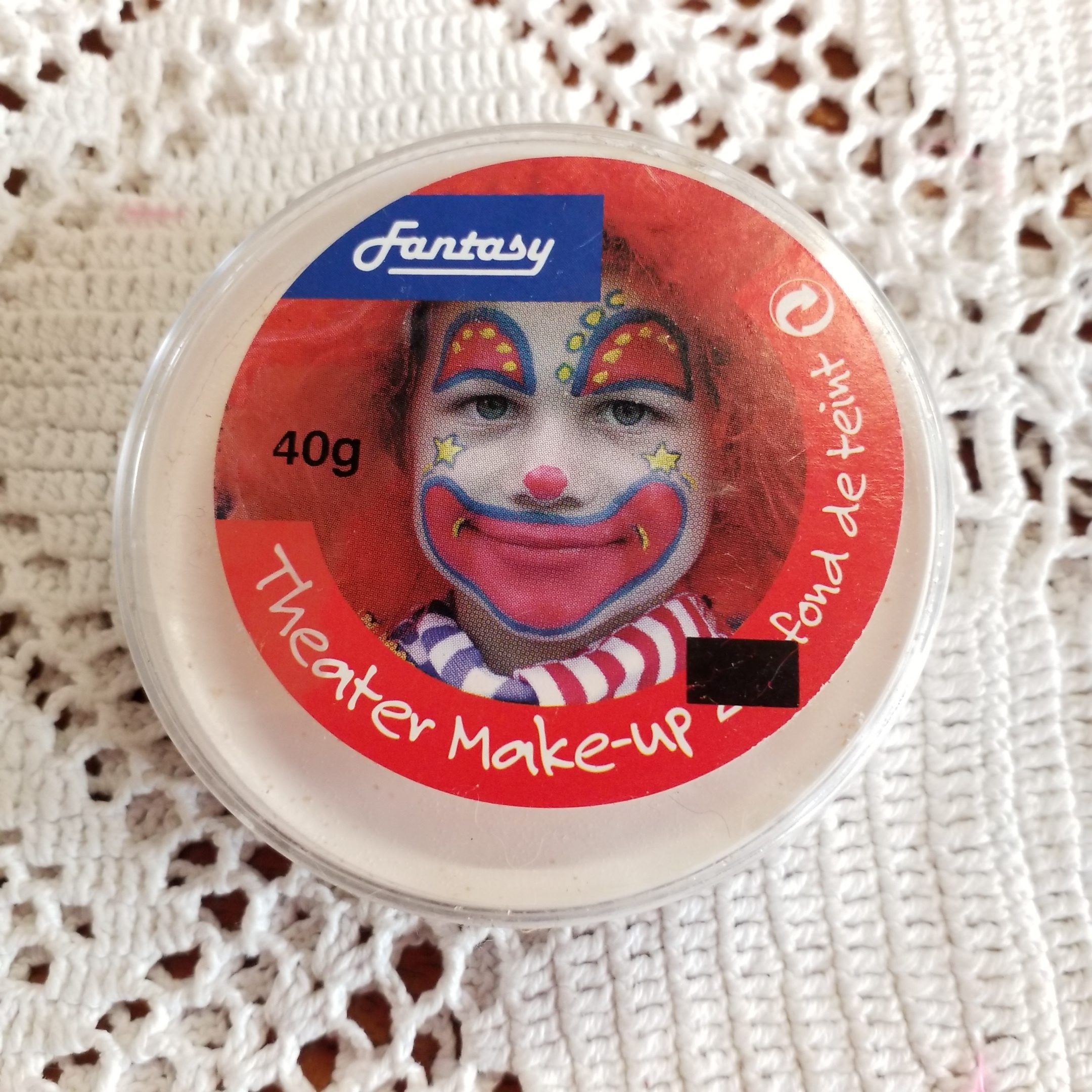 Fasching/Party Theater Make Up, weiß, 40g Dose